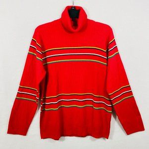 Vintage Evan-Picone Ribbed Knit Turtleneck Sweater in Red with Stripes - 1X -NWT